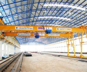 6 เครนสนามขาสูงข้างเดียวชนิดคานเดี่ยว Semi Gantry crane of Single girder