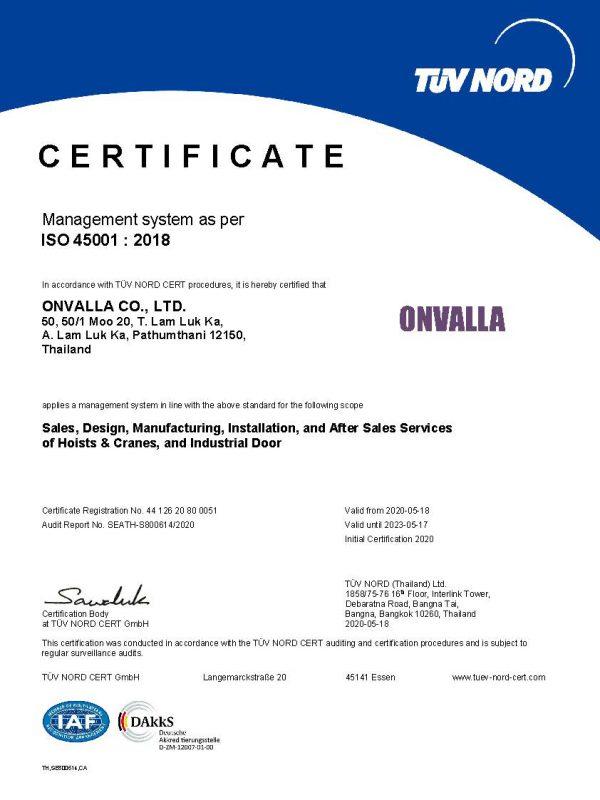 ISO 45001.18 CA - CERTIFICATE ONVALLA