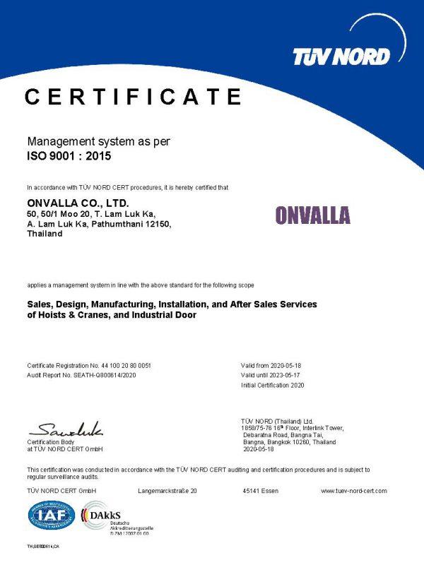 ISO 9001.15 CA - CERTIFICATE ONVALLA (DAKKS)